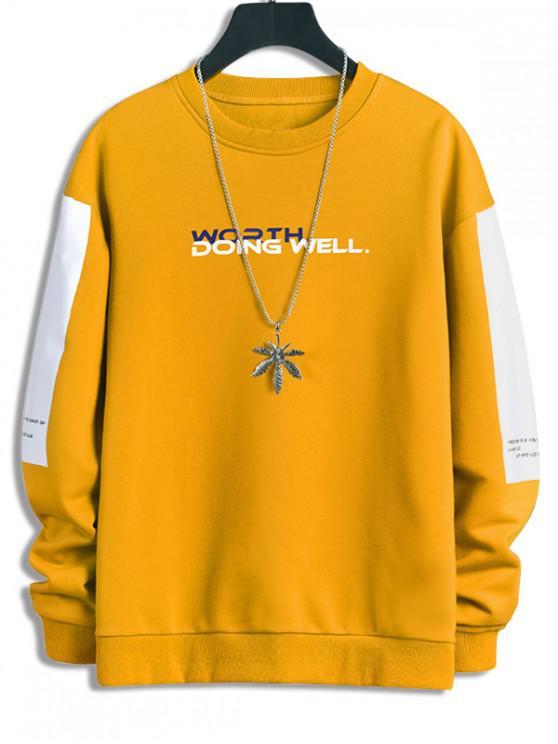 fancy Worth Doing Well Letter Colorblock Panel Sweatshirt - SUN YELLOW S