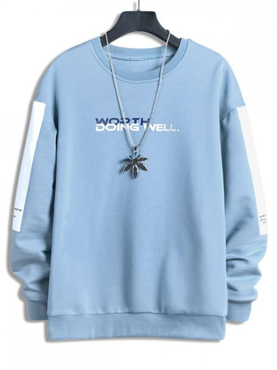 ladies Worth Doing Well Letter Colorblock Panel Sweatshirt - LIGHT SKY BLUE XL
