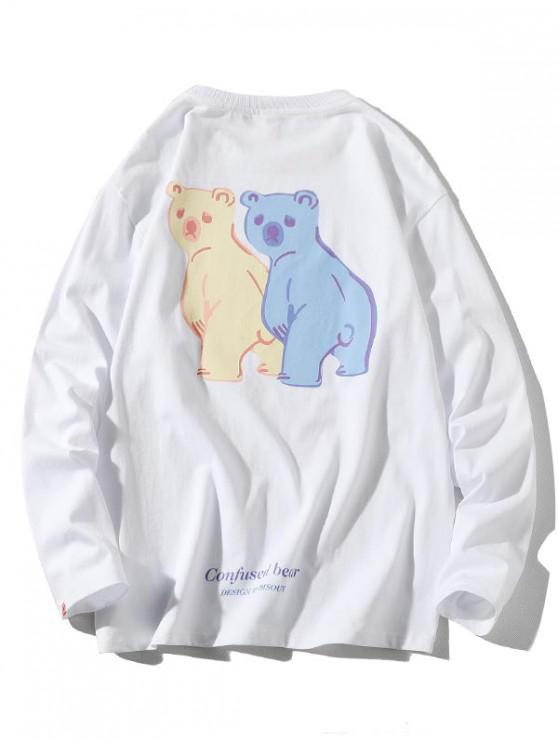 fancy Confused Bear Letter Printed Casual T-shirt - WHITE M