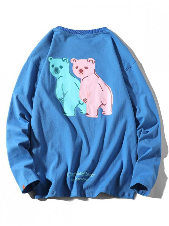 online Confused Bear Letter Printed Casual T-shirt - SILK BLUE L