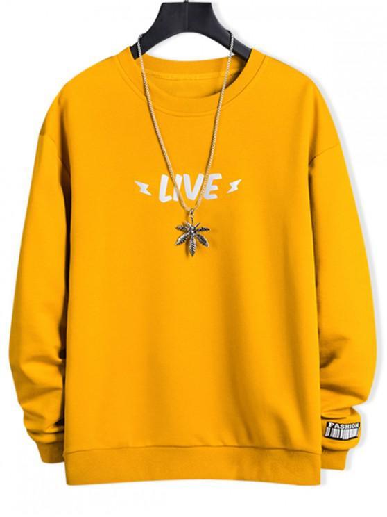 outfits Luminous Live Letter Print Crew Neck Sweatshirt - SUN YELLOW S