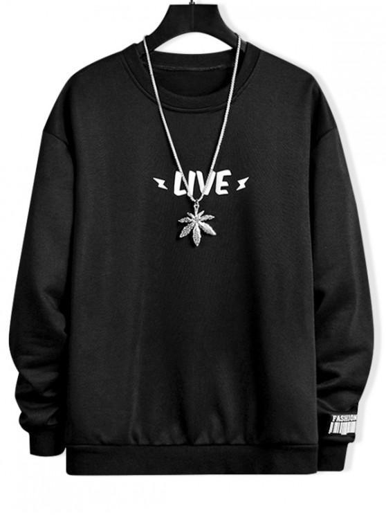 trendy Luminous Live Letter Print Crew Neck Sweatshirt - BLACK S