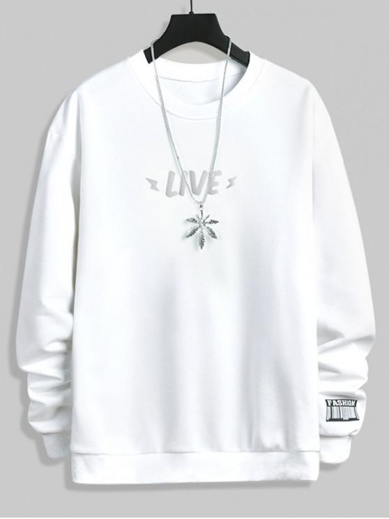 online Luminous Live Letter Print Crew Neck Sweatshirt - WHITE S