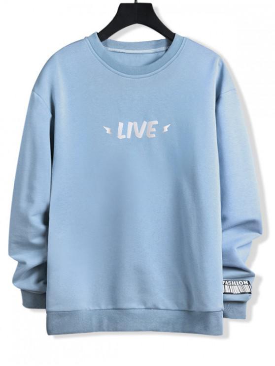 womens Luminous Live Letter Print Crew Neck Sweatshirt - JEANS BLUE XS