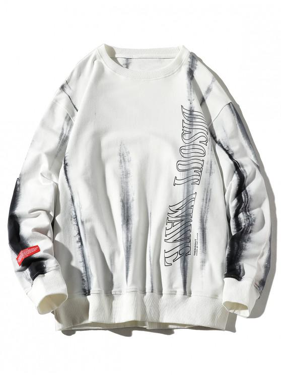 womens Letter Ink Painting Print Applique Casual Sweatshirt - WHITE L