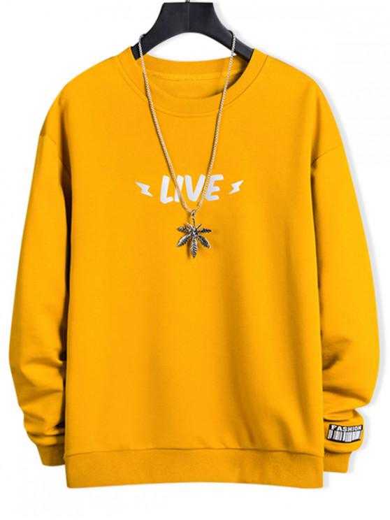 chic Luminous Live Letter Print Crew Neck Sweatshirt - SUN YELLOW XL