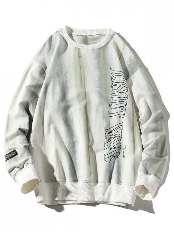 hot Letter Ink Painting Print Applique Casual Sweatshirt - PLATINUM 3XL