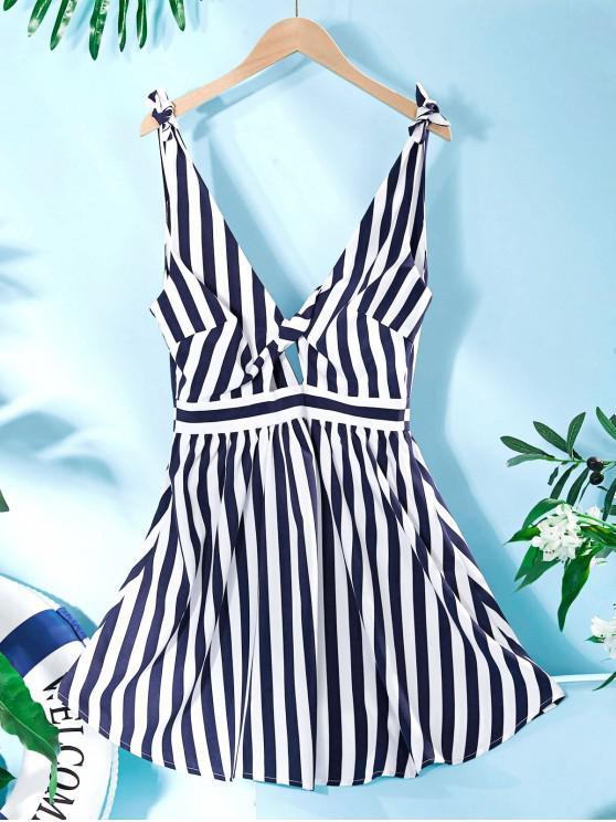 women ZAFUL Naval Stripe Tie Shoulder Plunging Twisted Keyhole Dress - MULTI-A M