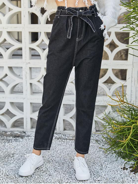 latest Slant Pockets Belted High Waisted Straight Jeans - BLACK L
