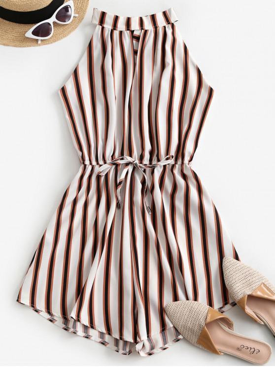 ladies Keyhole Tie Back Cutout Romper - WHITE M
