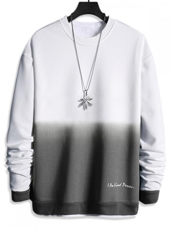 best Letter Print Ombre Sweatshirt - WHITE M