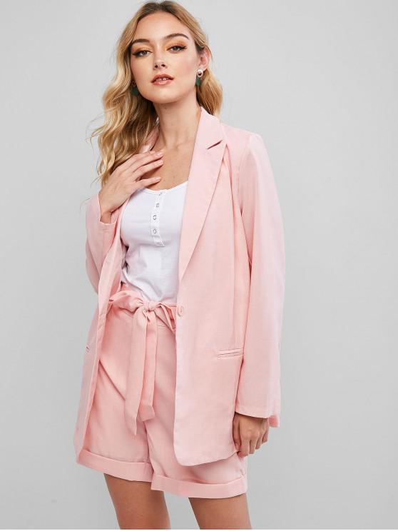 shops Two Piece Blazer And Tie Waist Cuffed Hem Shorts Set - PINK S