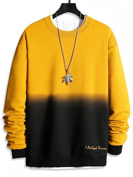 chic Letter Print Ombre Sweatshirt - SUN YELLOW XS