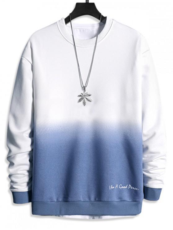sale Letter Print Ombre Sweatshirt - SILK BLUE XS