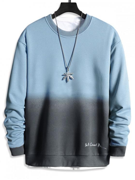 outfit Letter Print Ombre Sweatshirt - LIGHT SKY BLUE L