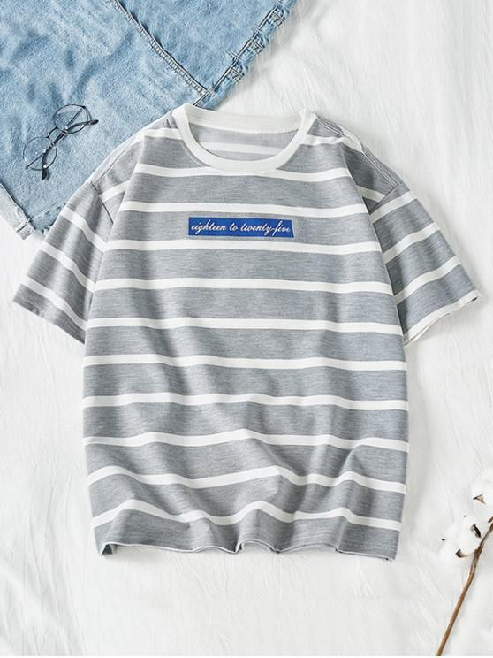 hot Letter Colorblock Striped Short Sleeve T-shirt - GRAY GOOSE L