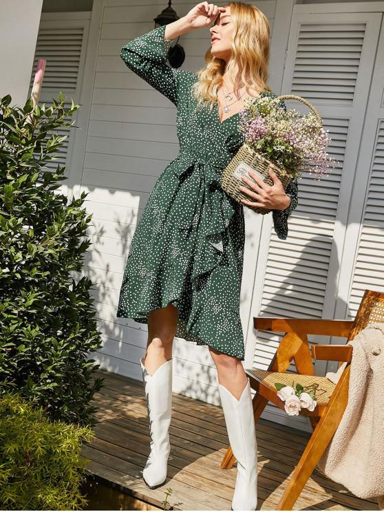 fashion Long Sleeve Polka Dot Ruffles Surplice Dress - DEEP GREEN L