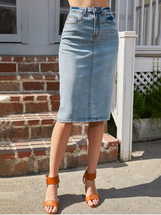 buy ZAFUL Pencil Jean Skirt - BLUE S