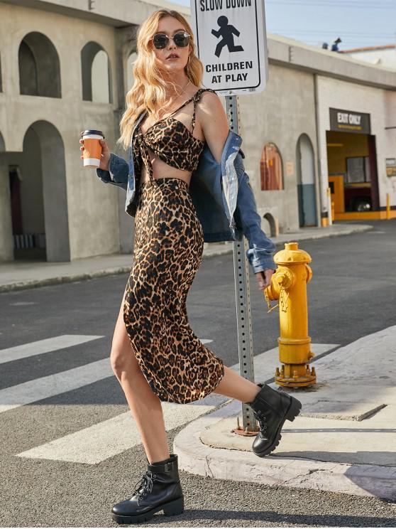 ladies Knotted Tie Shoulder Leopard Slit Two Piece Dress - LEOPARD S