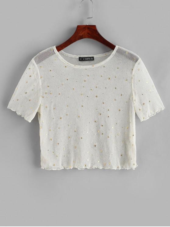 T-Shirt Corta Trasparente con Stampa Stelle - Bianco caldo S
