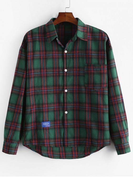 Plaid Stampa Pocket goccia spalla Lounge Camicia - Verde M