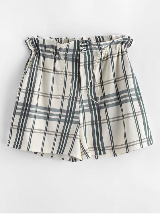 latest Plaid Toggle Drawstring Pocket Shorts - MULTI-A L