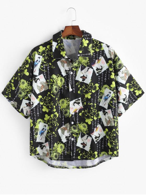 sale Oriental Floral Print High Low Shirt - BLACK 3XL