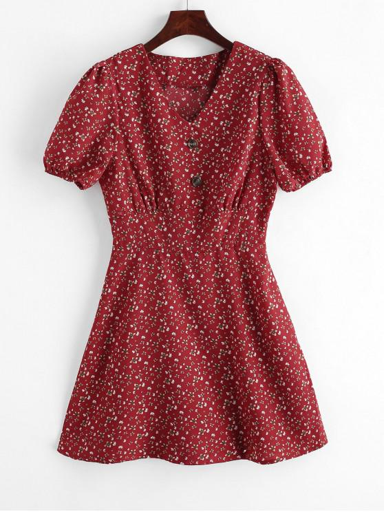 chic Mock Buttons Ditsy Floral Mini Dress - CHESTNUT RED M