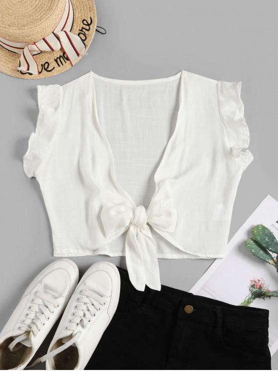 shop Tie Front Ruffled Sleeve Cropped Blouse - WHITE L