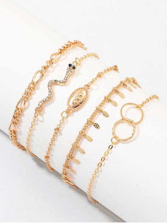 Forma strass Snake Circolo Bracciali Charm Set - Oro
