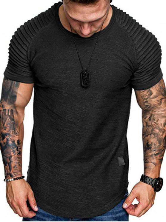 T-Shirt a Strati a Maniche Raglan con Applicazioni - Nero 3XL