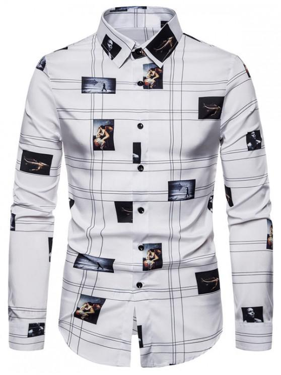 shops Graphic Pattern Button Long-sleeved Shirt - WHITE 2XL