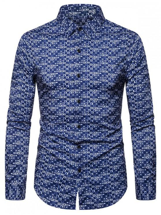 affordable Geometric Pattern Casual Long Sleeves Shirt - BLUE 2XL