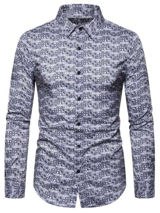 shops Geometric Pattern Casual Long Sleeves Shirt - GRAY 2XL