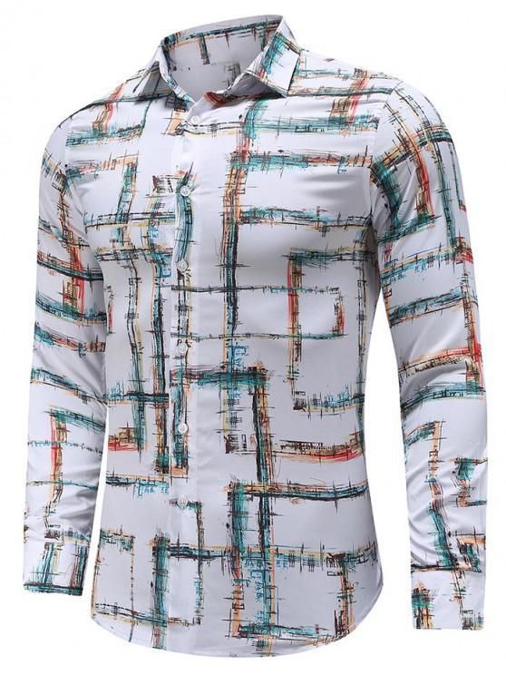 trendy Casual Print Button Long-sleeved Shirt - WHITE 2XL