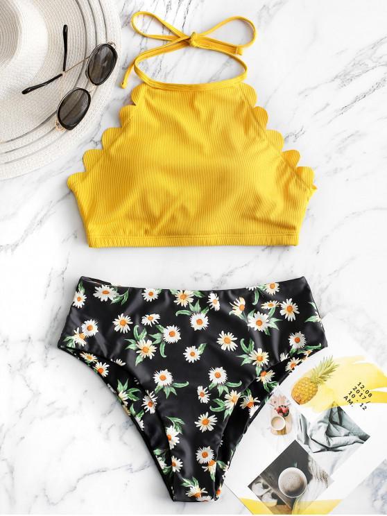 outfit ZAFUL Flower Ribbed Scalloped Halter Tankini Swimwear - YELLOW S