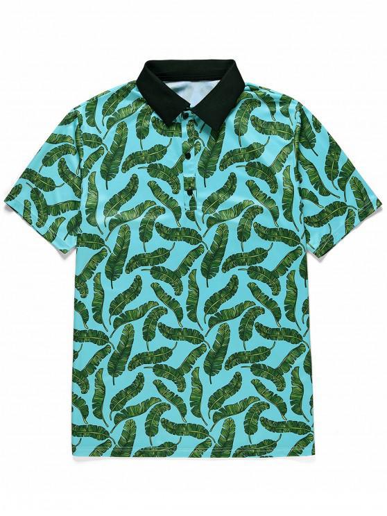 T-Shirt Stampata a Foglie con Bottoni e Maniche Corte - Blu Verde  Macaw  L