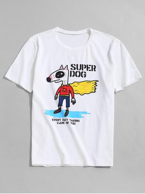 ZAFUL T-shirt Gráfico dos Desenhos Animados de Manga Curta de Impressão - Branco XL