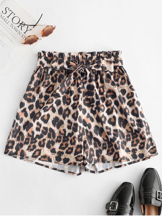 hot Leopard Print Belted Paperbag Shorts - LEOPARD S