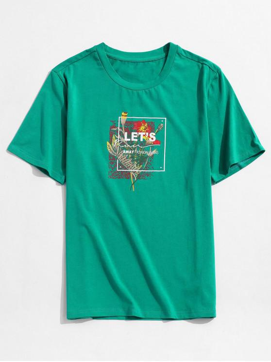 trendy ZAFUL Flower Leaf Letter Graphic Vacation T-shirt - MEDIUM SEA GREEN 2XL