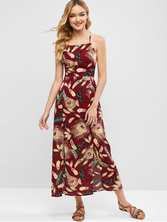 fancy Feather Print Backless Slits Cami Dress - RED WINE S