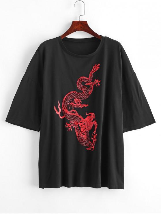 unique Dragon Print Oversized Longline Tee - BLACK S