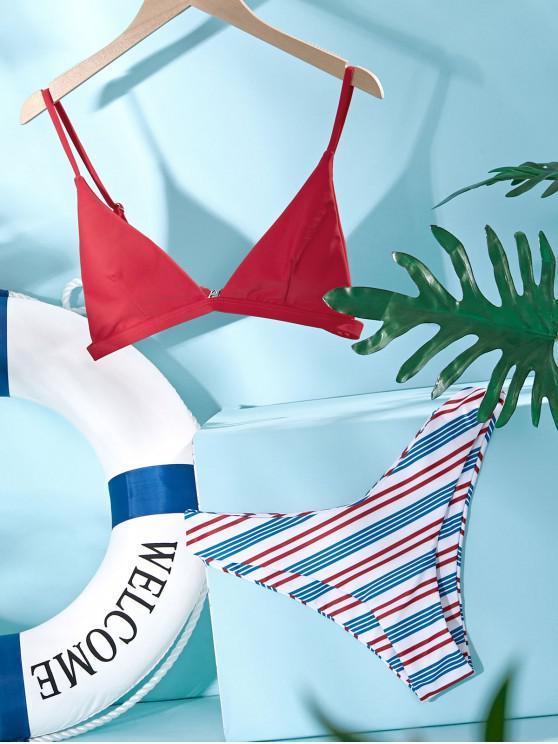 ZAFUL Colorful Striped High Leg Bikini Swimsuit - أحمر S
