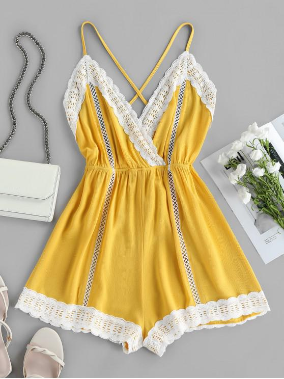 affordable ZAFUL Lace Insert Hollow Out Crisscross Backless Romper - GOLDENROD M