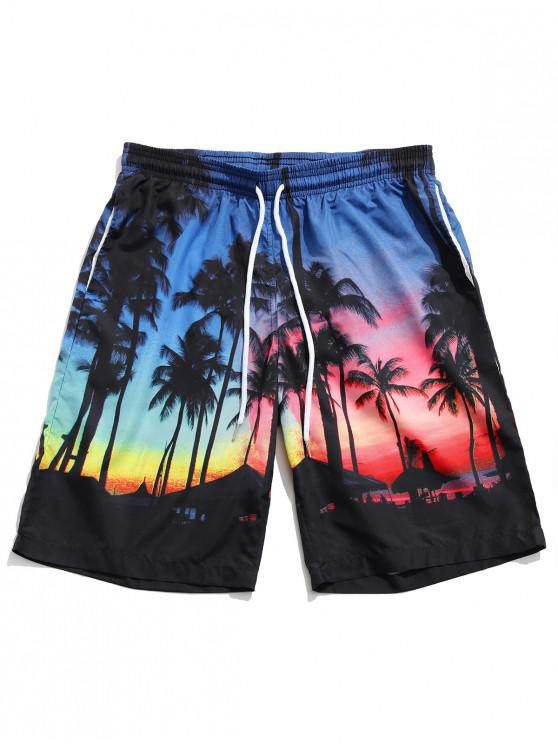 Coconut Tree Pattern Board Shorts - متعدد L
