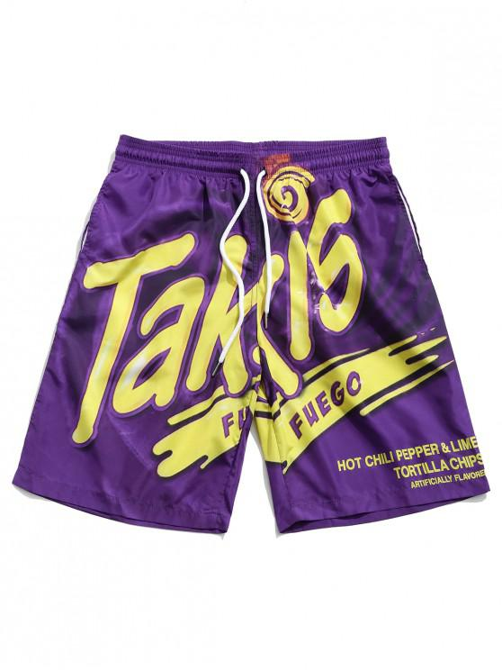 latest Letter Print Drawstring Beach Shorts - PURPLE M
