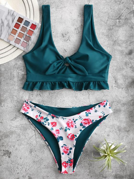 women's ZAFUL Knot Ruffle Floral Tankini Swimsuit - PEACOCK BLUE S