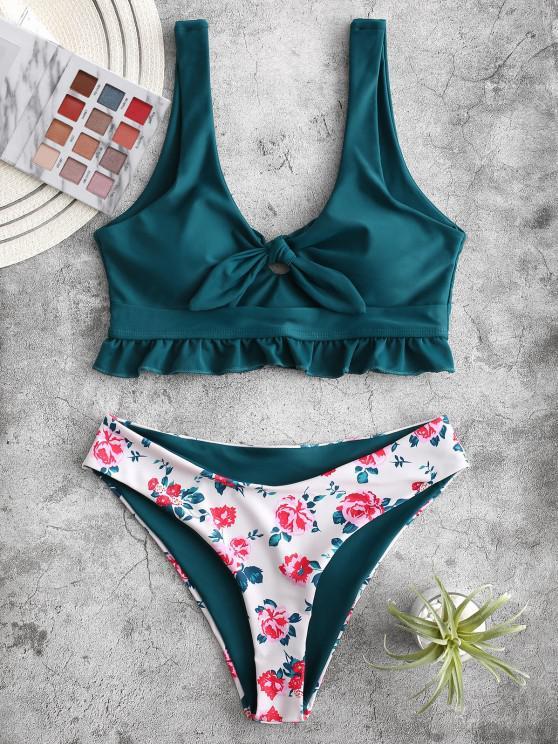 ZAFUL Knot Ruffle Floral Tankini Swimsuit - الطاووس الأزرق 2XL
