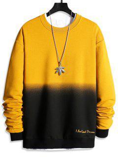Buchstabe Druck Ombre Sweatshirt - Sonne Gelb Xs