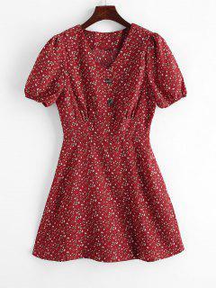 Mini Robe Fleurie Boutonnée - Châtaigne Rouge M